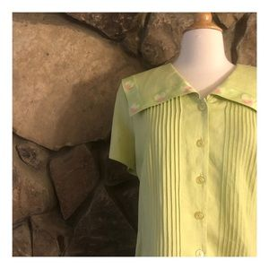 Sweet Vintage Linen Blend Button Down Top, L